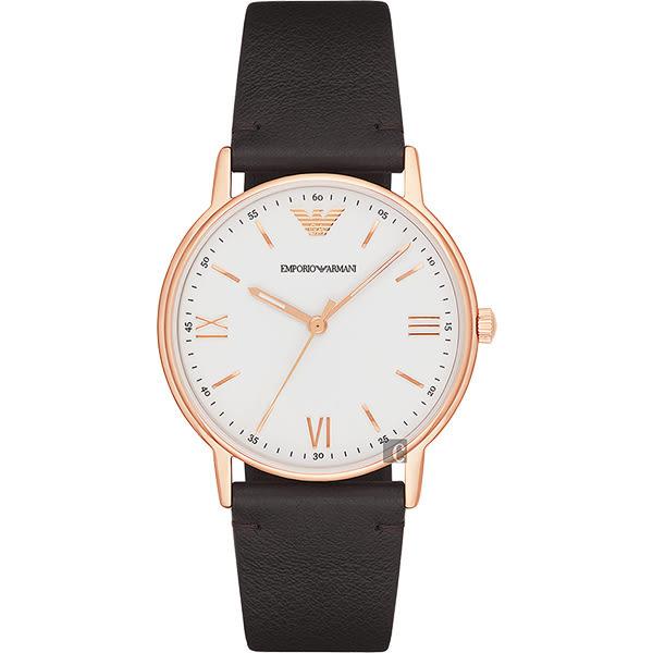 廣告款 Emporio Armani 亞曼尼 Dress 經典手錶-白x黑/43mm AR11011