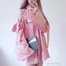 韓國中長款花朵刺繡小心機露肩蝴蝶結綁帶喇叭長袖襯衫裙女潮 交換禮物