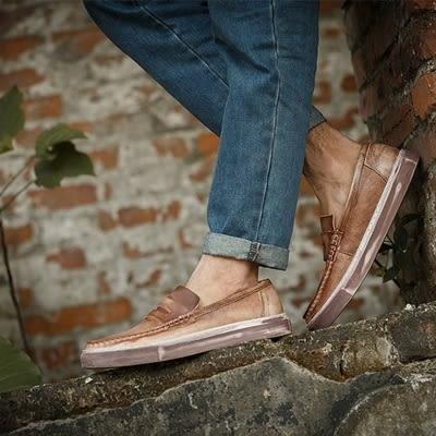 短靴真皮-套腳街頭時尚復古做舊男靴子3色73kk73[巴黎精品]