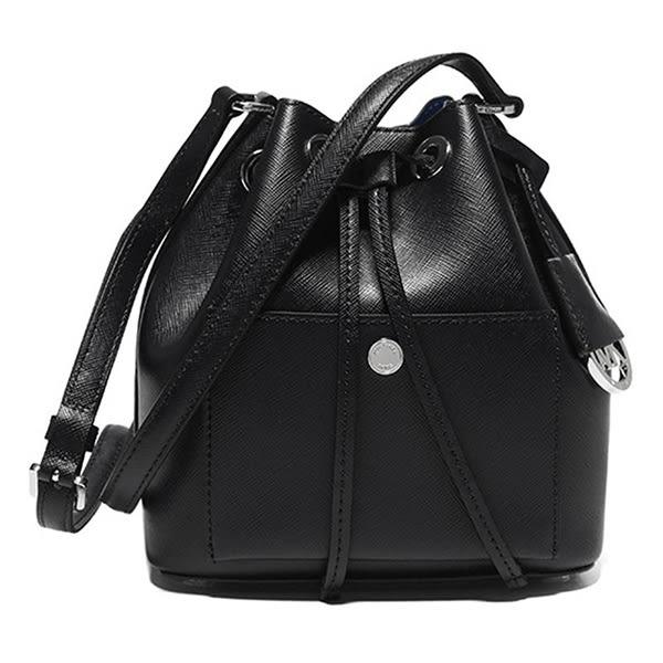 米菲客 Michael Kors MK 30H5SGRM1U 圓形LOGO設計 時尚素面 十字紋防刮耐用皮革 水桶包 斜背包(黑)
