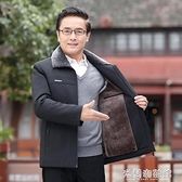 棉衣外套 年冬季新款中年男士加絨加厚棉衣中老年男爸爸裝羽絨棉襖外套 快速出貨