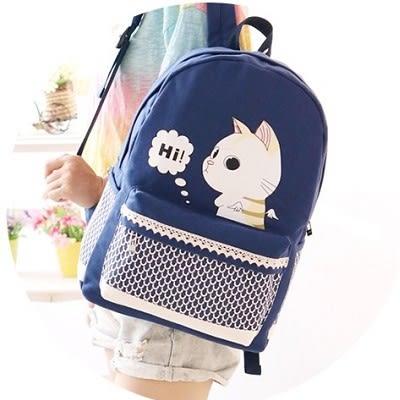 韓版學院風帆布雙肩包書包卡通休閒旅行背包女包..三色..流行線