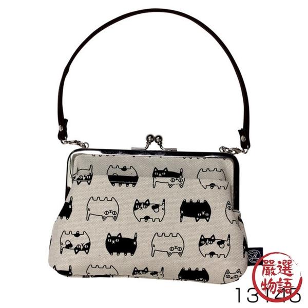【日本製】貓帆布系列 手提式口金包 貓咪三兄弟圖案 灰色 SD-7059 - 日本製 貓帆布系列