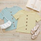 MUMU【T92795】舒適圓領單排釦直紋短袖上衣。藍/黃