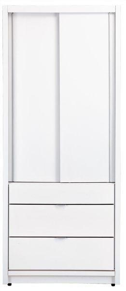 【森可家居】凡斯2.7尺衣櫥(單吊三抽) 7JX41-8 衣櫃 白色 簡約北歐風 左右推拉門