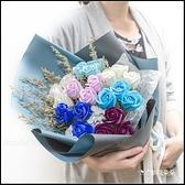 愛你每一天 21朵玫瑰香皂花花束 情人節花束.2色可挑(搭配繡球花+情人草)M002 生日花束