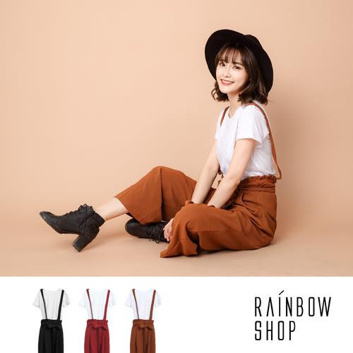 兩件式-簡約短T+綁帶吊帶寬褲-A-Rainbow【A9921111】