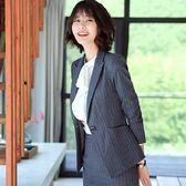 西裝領條紋單釦長袖西裝外套[8Y635-PF]美之札