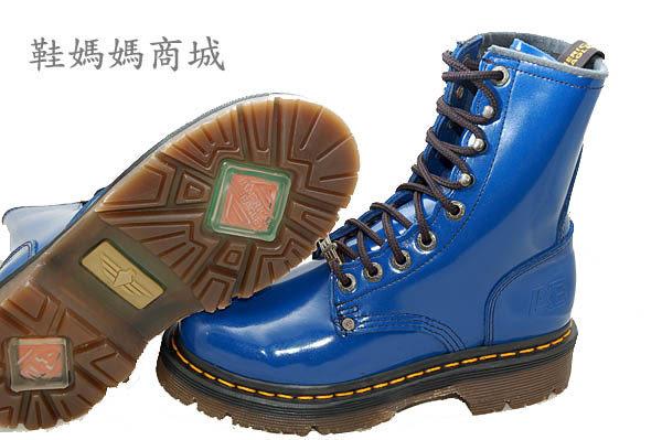【鞋媽媽】[男女]全新AE馬丁鞋*藍色9孔中筒靴*防滑防潑水*ae191