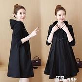 連帽洋裝-大碼女裝2021新款春秋貴夫人減齡遮肚子顯瘦遮肉洋裝子高端洋氣