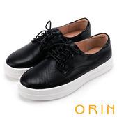 ORIN 休閒舒適 真皮洞洞綁帶休閒平底鞋-黑色