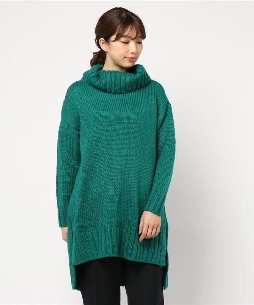 「Hot item」側開叉反折高領長版針織上衣 - Green Parks