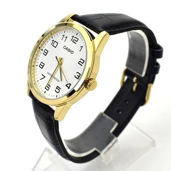 CASIO手錶 金框白面數字皮革錶NECK9