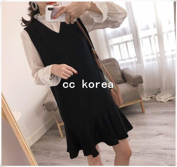 透膚花邊領上衣 + 荷葉裙雪紡2件式洋裝 CC KOREA ~ Q15406