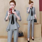 超殺29折 韓系名媛領帶條紋顯瘦高腰時尚套裝長袖褲裝