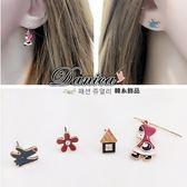 耳環 現貨 韓國 氣質 甜美 童話故事 花朵 小紅帽與大野狼 4件組 耳針 S91780 Danica 韓系飾品
