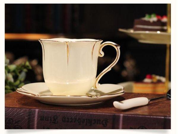 陶瓷歐式咖啡杯碟英式簡約陶瓷金邊下午茶茶杯