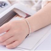 S925純銀光面小圓珠佛珠氣質手鏈男女同款轉運珠手鐲簡約情侶禮物 麻吉好貨