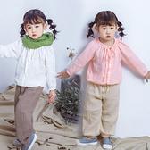 長袖上衣 女童棉麻圓領拉繩釦子長袖上衣 W73011
