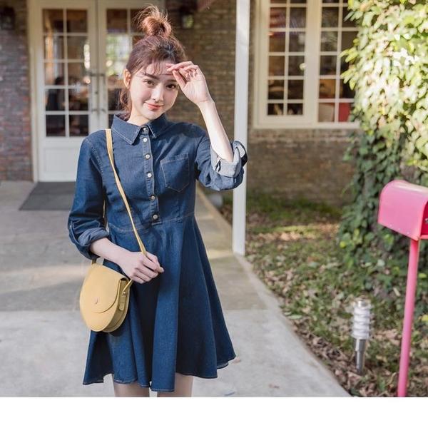 《DA6269-》高含棉反褶袖排釦傘襬牛仔洋裝 OB嚴選