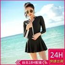 【現貨】梨卡 - 韓國新款[集中鋼圈]高腰顯瘦拉鍊黑色兩件式連身泳衣連身泳裝CR426