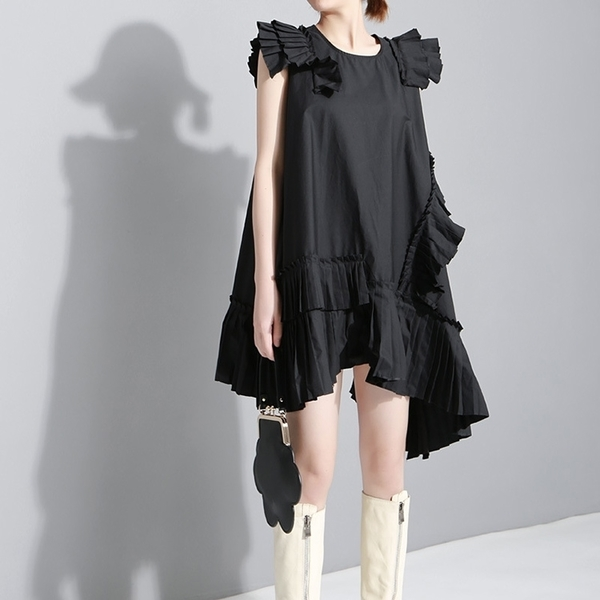 現貨 時尚壓褶不對稱裙襬洋裝連身裙【13-16-81111-19】ibella 艾貝拉