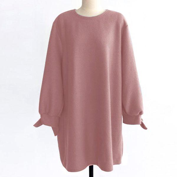 加大碼-素色寬鬆蝴蝶結袖口洋裝(M-2XL)