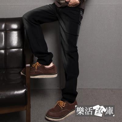 電繡圖騰刷色伸縮中直筒牛仔褲@樂活衣庫【6769】