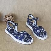 雙十一特價 涼鞋女中老年媽媽女鞋老北京百搭夏季平跟單鞋一字扣千層底布鞋女