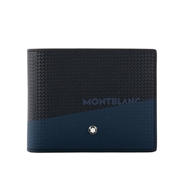 【MONT BLANC】Extreme風尚系列2.0 拼色對開6卡短夾(黑色/藍色) 128613