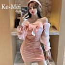 克妹Ke-Mei【AT64835】2021早春名媛時尚一字領蝴緤結網紗袖小洋裝