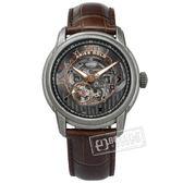 ARIES GOLD / G9005AS-BK / 機械錶 自動上鍊 鏤空錶盤 仿舊錶殼 藍寶石水晶玻璃 真皮手錶 灰x咖啡 43mm