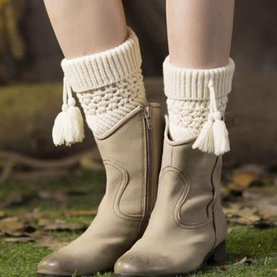 襪套 護腿套斜紋流蘇毛線針織 - 4色【Ann梨花安】