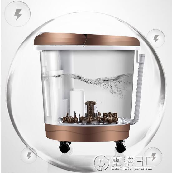 足浴盆全自動洗腳加熱電動按摩家用高深桶足療神器同款泡腳桶WD 電購3C
