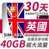 【TPHONE上網專家】英國 30天 40GB超大流量 4G高速上網 贈送當地通話 500分鐘