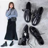 牛津鞋布洛克小皮鞋女秋季新款復古粗跟休閒鞋英倫風學院厚底單鞋子 全館免運