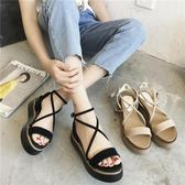厚底涼鞋女夏新款韓版舒適百搭綁帶學生中跟松糕鞋增高涼鞋女 時尚芭莎