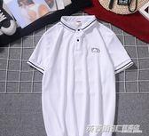 夏季潮流男裝襯衫領新款有帶領短袖T恤男翻領半袖衣服  英賽爾3c