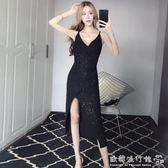 夜場女裝性感低胸V領露背開叉包臀中長款吊帶洋裝夏 『歐韓流行館』