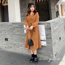 中大尺碼 顯瘦修身排釦兩穿外套洋裝(附腰帶)  -共兩色- 適XL~4L《 69165 》CC-GIRL