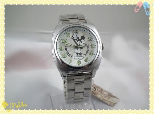 《省您錢購物網》全新~全新~【迪士尼】米奇 揮手移動 夜光指針 造型錶(白色)+贈台製精品鬧鐘*1