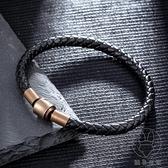 編織皮繩手鏈男手繩潮百搭串飾品轉運珠紅繩黑繩手鏈【貼身日記】