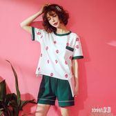 冰絲寬鬆睡衣 女夏季薄款兩件套棉質短袖運動休閒家居服套裝 BT8425【Sweet家居】