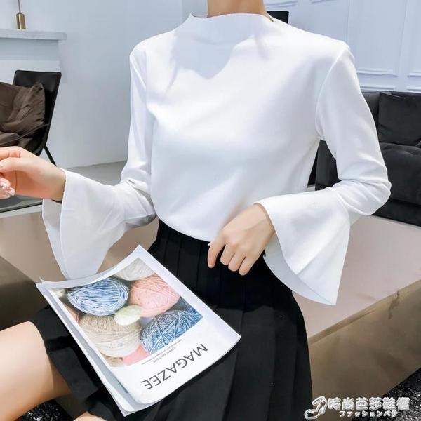 春秋新款長袖修身薄款百搭喇叭袖學生寬鬆上衣女裝針織打底衫t恤 時尚芭莎