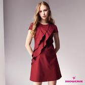 【SHOWCASE】雙層斜荷葉領腰身剪裁俏麗短版洋裝(紅色)
