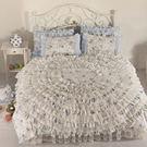 公主床罩 浪漫花都 藍色 6尺 加大雙人 薄床罩四件組 公主床裙 蕾絲  薄紗 荷葉邊 床裙組 床罩組