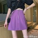 休閒短褲 拉錬高腰短褲女夏季2021新款褲子顯瘦闊腿a字直筒寬鬆黑色西裝褲 618購物節