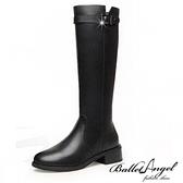長靴 側V口百搭側拉鍊騎士靴(黑)*BalletAngel【18-999bk】【現+預】