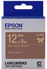 LK-4NKK EPSON 緞帶系列咖啡底金字標籤帶(寬度12mm) C53S654439