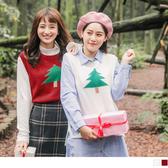 《FA1871-》聖誕樹印花?針織毛衣背心/上衣 OB嚴選